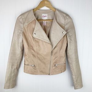 Faux leather cream zippered motorcycle jacket